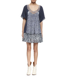 Half-Sleeve Mixed-Print A-Line Dress, Navy/White