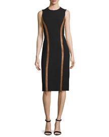 Sleeveless Wool Dress w/Contrast Leather Trim, Black