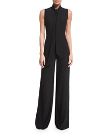 Sheryl Tie-Neck Wide-Leg Jumpsuit, Black