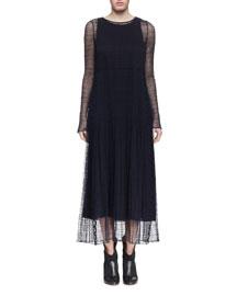 Long-Sleeve Guipure Lace Long Dress, Navy