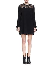 Long-Sleeve Lace-Inset Shift Dress, Black