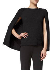Knit Cashmere Cape-Sleeve Sweater, Black