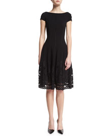 Loconia Cap-Sleeve Lace-Hem Dress, Black