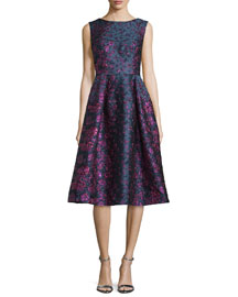 Locomotion Sleeveless Brocade Scoop-Back Dress, Purple