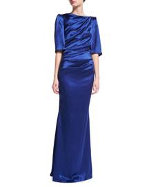 Lobata Draped Satin Half-Sleeve Gown, Cobalt
