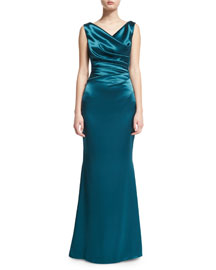 Kombo Sleeveless Draped Satin Gown, Teal