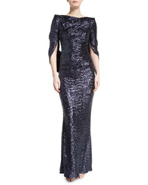 Konica Sequined Cape-Back Gown, Navy