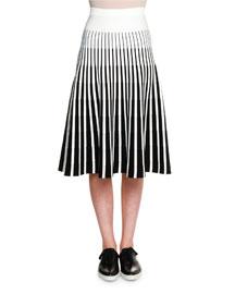 Striped Knit A-Line Skirt, Black/White