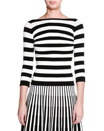 Striped 3/4-Sleeve Boat-Neck Top, Black/White