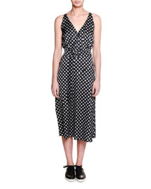 Sleeveless Nova-Print Wrap Dress, Black/White