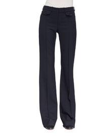 Wool Boot-Cut Pants, Navy