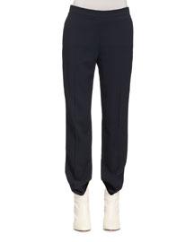 Straight-Leg Cady Pants, Black