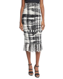 Blanket-Knit Plaid Pencil Skirt, Camel/Black