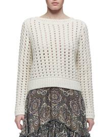 Long-Sleeve Crocheted Sweater, Cream