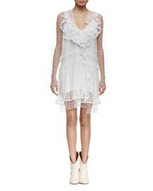 Ruffled Swiss Dot Mini Dress, White