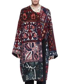 Tapestry Jacquard Round-Neck Coat, Wine/Navy