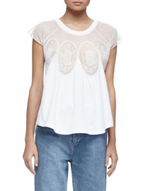 Cap-Sleeve Medallion Lace-Inset Tee, Optic White