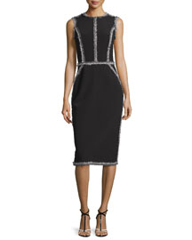 Tweed-Trimmed Ponte Sheath Dress, Black