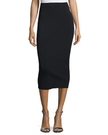 Stretch-Jersey Pencil Skirt, Black