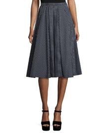 Check-Print Taffeta A-Line Skirt, Black/White
