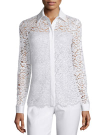 Long-Sleeve Floral Lace Blouse, White