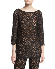3/4-Sleeve Floral Lace Top, Black