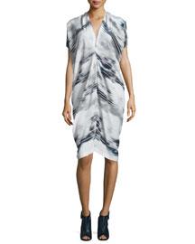 Issa Striped Stretch-Silk Dress, Cloudy Stripe