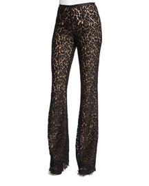 Floral-Lace Flare-Leg Pants, Black