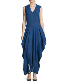 Sleeveless Draped V-Neck Dress, Cobalt