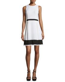 Sleeveless Colorblock Stretch-Crepe Dress, White