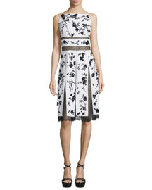 Floral-Print Lace-Inset Cami Dress, Optic White/Black