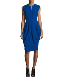Sleeveless Draped Waffle-Knit Dress, Cobalt