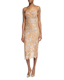 Crystal-Encrusted Floral-Lace Slip Dress, Suntan