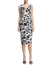 Sleeveless Floral-Print Cotton Sheath Dress, Black/White