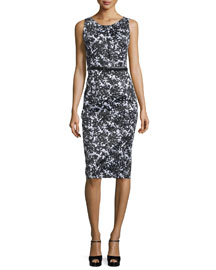 Floral-Print Stretch-Cotton Sheath Dress, Black/White