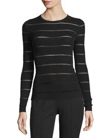 Sheer-Striped Merino-Blend Sweater, Black