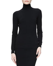 Long-Sleeve Turtleneck Sweater, Black