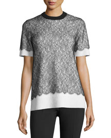 Short-Sleeve Lace Over Cashmere Sweater, Black/White