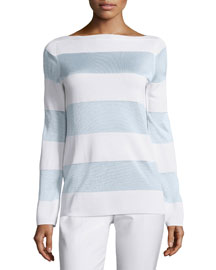 Long-Sleeve Striped Sweater, White