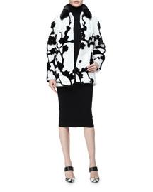 Mink Fur Floral Intarsia Coat, Black/White