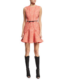 Sleeveless Seamed Bow-Waist Dress, Red Polka Dot