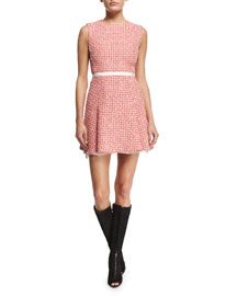 Sleeveless Tweed A-Line Dress, Pink