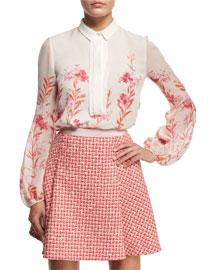 Long-Sleeve Floral-Print Blouse, White/Multi