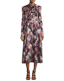 Striped Floral Silk Tie-Neck Midi Dress, Black/Multi