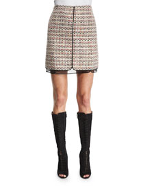 Tweed Skirt w/Organza Underlay, White/Multi