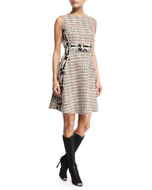 Sleeveless Tweed Dress w/Jacquard Insets, White/Multi