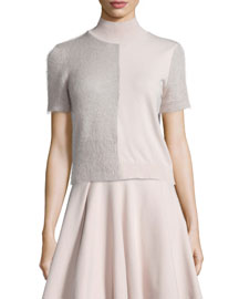 Short-Sleeve Colorblock Mohair Top, Barely Pink