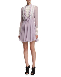 Long-Sleeve Silk Dress w/Macrame Bib, Lavender
