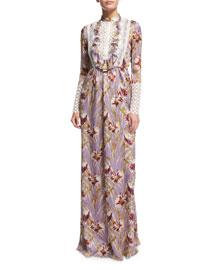 Long-Sleeve Floral Silk Gown w/Macrame Bib, Purple/Multi