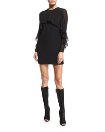 Cady Flutter-Sleeve Dress, Black